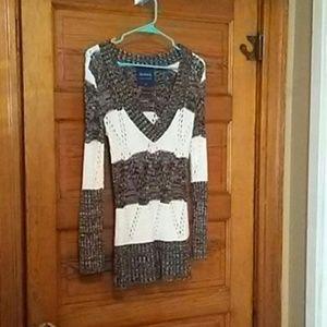 Crocheted long sweater